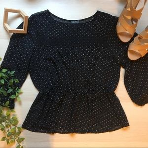 Lily Rose Sheer Black Polka Dot Top